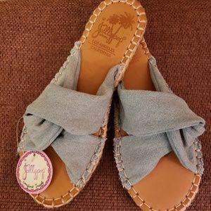 Jelly pop California denim wrap sandal size 6 NWT